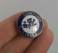 Vintage Quincy High School Blue Devils pinback button pin *EE91