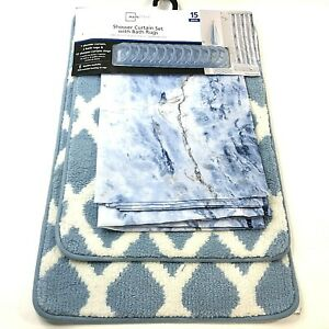Mainstays Shower Curtain Set with Bath Rugs 15 Pieces Blue Marble NEW WITH TAGS