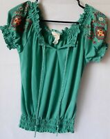 Self Esteem Size S Peasant Boho Stretch Knit Ruffle Neck Top Blouse Green