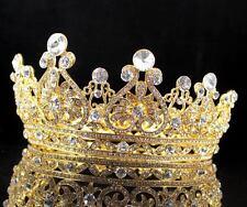 ABt12159g Vintage Full Crown Austrian Crystal Rhinestone Tiara Pageant Prom