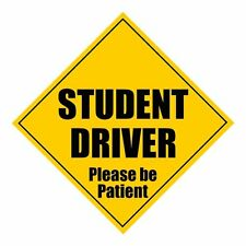"""Zone Tech Student Driver Please Be Patient 5"""" x 5"""" MAGNET Safety Caution Sign"""