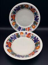 Deux assiettes creuses faïence décorée de Villeroy & Boch modèle Acapulco XXème