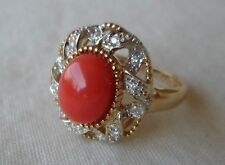 Rare LeVian 14K Yellow Gold Peach Coral Diamond Ring - Size 6.25