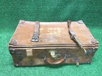 VTG Antique Full Grain Belting Leather Distressed Car Trunk Suitcase Bag Patina