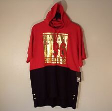 NWT MEN'S 3X ENYCE S/S RED/BLACK/GOLD LOGO HOODIE HOODED TEE T-SHIRT $49 #749