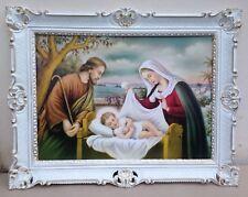 Gemälde SagraFamilie Krippe Jesusgeburt Josef Maria 90cm Heilige Bilder Wandbild