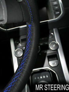 FOR SCANIA R 450 16+ BLACK LEATHER STEERING WHEEL COVER ROYAL BLUE DOUBLE STITCH