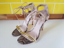River Island Webster Nude Pink Lace Up Stiletto Heel Sandals UK 6 Snake Gold Tie