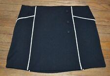 Elle Texturized Black Skirt with Accent Buttons and White Piping Size XL