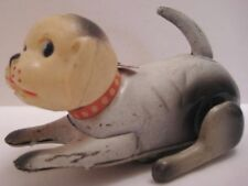 """Unusual Antique Tin Wind Up Toy Dog w Celluloid Head 5 1/2"""" Occupied Japan 1940s"""
