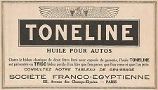 Y7279 Huile pour autos TONELINE - Pubblicità d'epoca - 1928 Old advertising