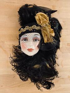 Vintage CLAY ART Mask: Jenny McLain & Claudia Cohen Black Feather & Gold Ribbon