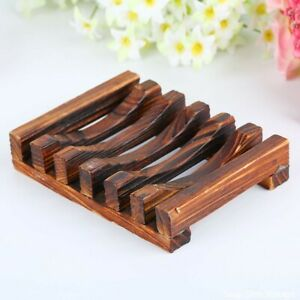Wooden Soap Dish Holder Bathroom Plate Tray Storage Draining Case Rack Non-slip