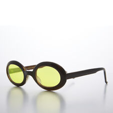 Yellow Small Oval Colored Lens 90s Vintage Sunglass with Black Frames - Gem 1