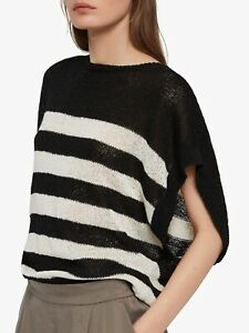 AllSaints Carova Black & White Striped Knitted Jumper Top