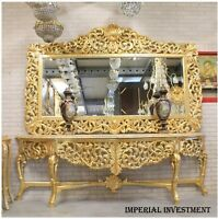 CONSOLE - GOLD CONSOLE WITH MIRROR IN WOODEN FRAME
