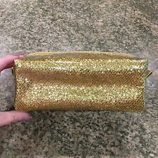NEW ANTHROPOLOGIE GOLD GLITTER COSMETIC MAKE UP TRAVEL PURSE TOILETRY BAG POUCH
