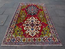 Vintage Traditional Hand Made Oriental Red Green Wool Large Gabbe Rug 240x156cm