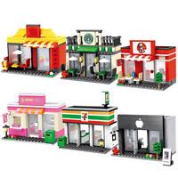 New City Street Mini Shop Series Retail Store Building Blocks For Kids Toys Gift