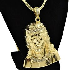 "Jesus Piece Chain Big Bust Bling Pendant Gold Finish 36"" Franco Hip Hop Necklace"