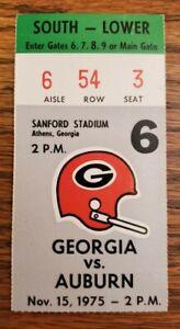 Georgia Bulldogs Auburn Tigers Football Ticket Stub 11/15 1975 Andy Reid RB 2 TD