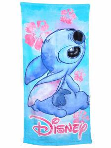 Disney Stitch Floral Cotton Bath and Beach Towel Blue 58x28 Lilo
