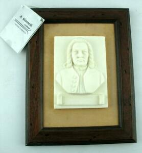 A Giannelli Signed Alabaster Framed Wall Plaque - Bach - Made in Italy 1986 COA