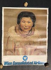 VTG.🛩Alaska Wien Consolidated Airlines✈️Calendar/Poster Litho Print 1971 Eskimo