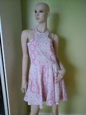 Polo Neck Skater Floral Sleeveless Dresses for Women