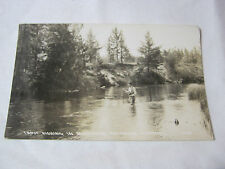 TROUT FISHING IN NORTHERN MICHIGAN STREAMS REAL PHOTO  POSTCARD  T*