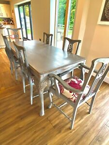 Vintage French dining table set - grey hand painted and waxed. 6 chairs.