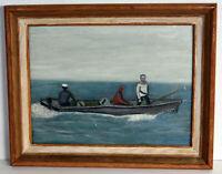 "11"" Oil Painting on Wood Board NJ Boat Sailors Fishermen Folk Art Wall Home Deco"