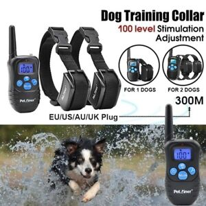 Dog Shock Training Collar LCD Electric Remote Waterproof Rechargeable 330 Yards