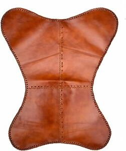 Leather Butterfly Chair Brown Leather Handmade Cover Outdoor Indoor Room Vintage