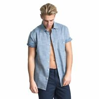 Trespass Buru Mens Chambray Shirt Short Sleeve Casual Work Top with Buttons