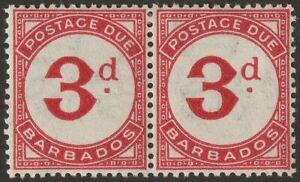 Barbados 1947 KGVI Postage Due 3d Carmine Pair Mint SG D3 cat £40