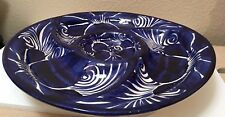 Mexican Talavera Appetizer Platter Chip Dip Blue LG Dish Serving Tray Plate 13.5
