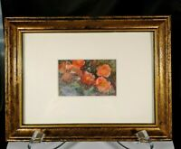 """Vtg Signed Haras Original Poppies Watercolor Art Picture Framed Matted Small 8"""""""