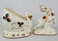 Vintage Napco Christmas White Sleigh Planter and Reindeer Spaghetti Trim