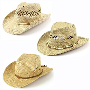 Straw Cowboy Hat Summer Sun Fedora Mens Womans 100% Natural Straw