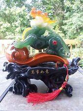 """11""""H Chinese Feng Shui Gilt Wealth Dragon  PiXiu Statue"""
