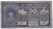 INDONESIA 10 RUPIAH 1947 PICK S353A LOOK SCANS
