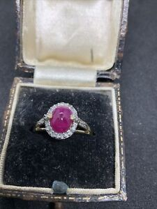 Cabouchon Ruby With Diamonds Ring Yellow Gold 9ct Size L July birthstone
