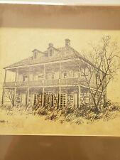Signed Ken Fleisch Print Texas Artist House Drawing Western Prairie Homestead