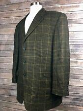 John Nordstrom Mens 48R Brown Checkered WindowPane Soft Cashmere 3 Button Blazer
