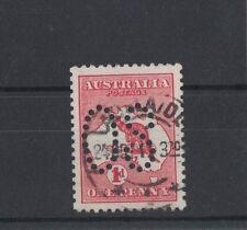 1913 Australia 1d Roo, Red SG O2d Die II OS perfin fine used