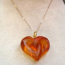 LALIQUE - Entwined hearts by lalique 9ct  gold chain RARE -OUTSTANDING - LUXURY