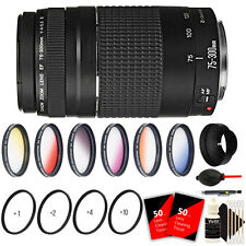 Canon EF 75-300mm f/4-5.6 III for Canon T5i T6i T3i + 58mm Accessory Bundle