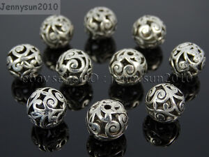 Tibetan Silver Carved Patterned Hollow Connector Round Spacer Charm Beads 8-12mm