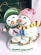 Fitz and Floyd Snowman Skating Couple Christmas Ornament Frosty Folks Ceramic